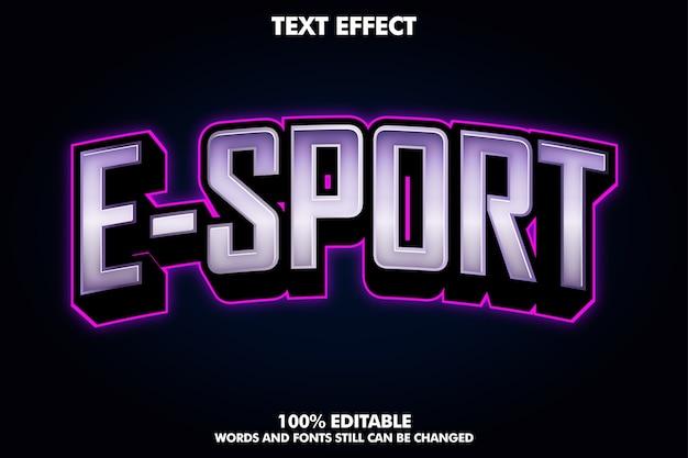 紫色のライトが付いたモダンなeスポーツのロゴ