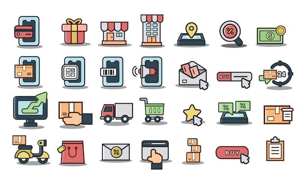 オンラインショッピング、配信、オンラインマーケティング、eコマースアイコンのセット。