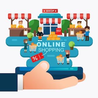 買い物客とモバイル、オンラインストアを持っている手でオンラインショッピングやeコマースのコンセプト