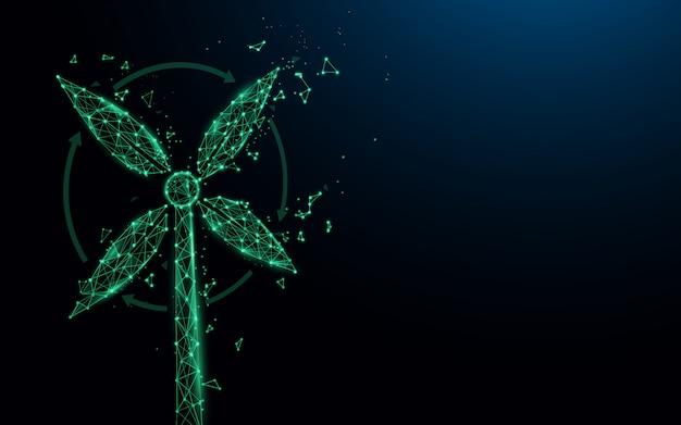 緑の電気風力タービン。 e