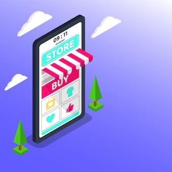オンラインショッピング。大きなスマートフォンのデジタルマーケティングとeコマース