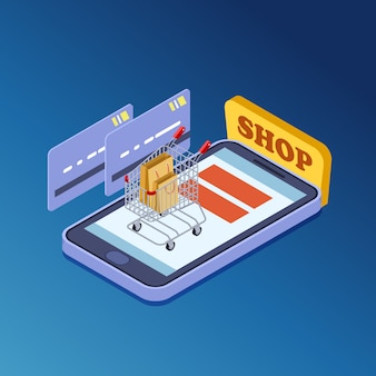 オンラインショッピング、eコマース等尺性ベクトルイラストコンセプト