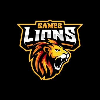Eスポーツとスポーツマスコットのライオンヘッドゲーミングロゴ