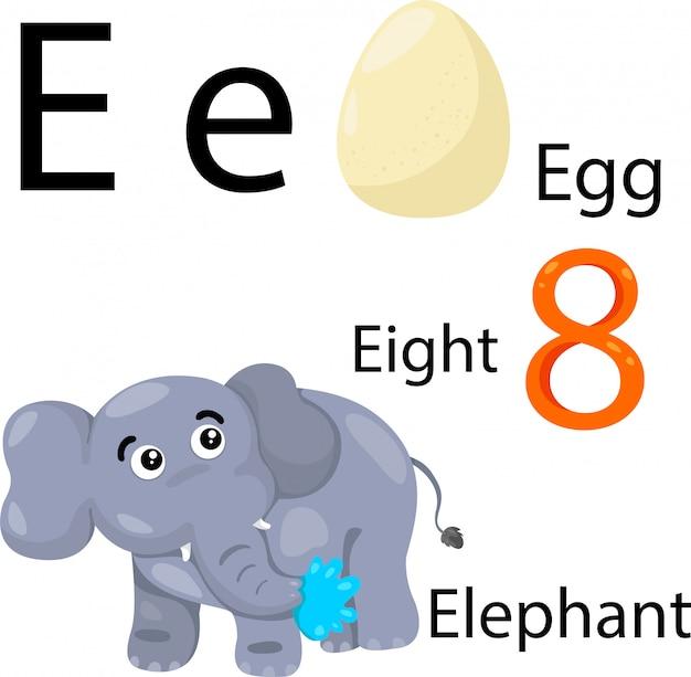 Eアルファベットのイラストレーター