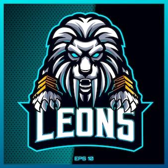 チームバッジ、エンブレム、喉の渇きの印刷のためのモダンなイラストのコンセプトで怒っている白いライオングラブテキストeスポーツとスポーツマスコットのロゴデザイン。明るい青の背景のライオンのイラスト。図