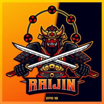 雷神金武士がチームバッジ、エンブレム、喉の渇きの印刷のためのモダンなイラストのコンセプトで剣eスポーツとスポーツマスコットのロゴデザインをつかみます。ゴールドの背景に忍者のイラスト。図