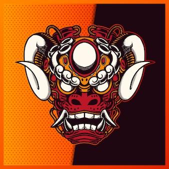 日本のライオンロボットオレンジ色の赤い頭の侍と青い背景の角のイラスト。マスコットのeスポーツのロゴの手描きイラスト