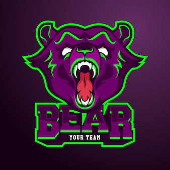 クマとeスポーツチームのロゴのテンプレート