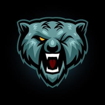 クマの頭eスポーツロゴゲームマスコット