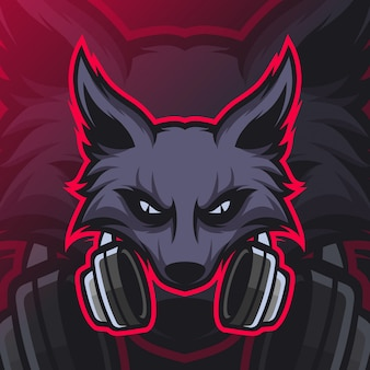 オオカミゲーミングマスコットeスポーツロゴ