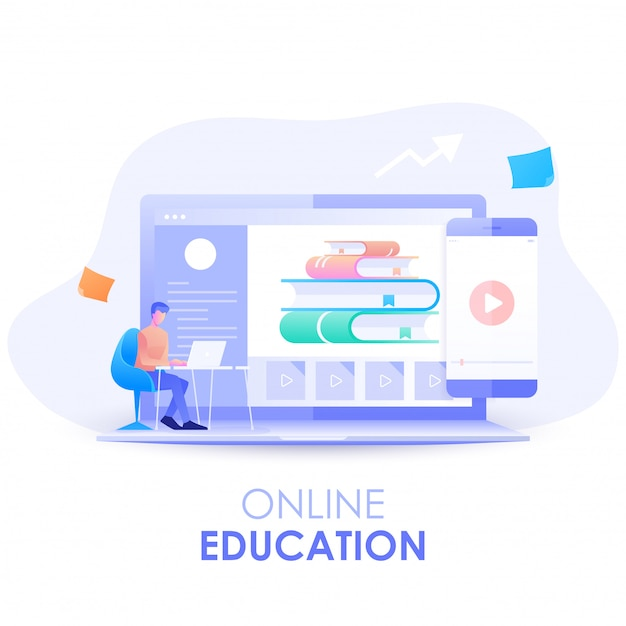 Eラーニング。男のキャラクターは、コンピューター、オンライン教育の概念を備えたオンラインコースで勉強している机に座っています。モダンなフラットデザインイラスト