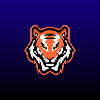 タイガーヘッドゲーミングマスコット。タイガーeスポーツのロゴデザイン。ベクトル図