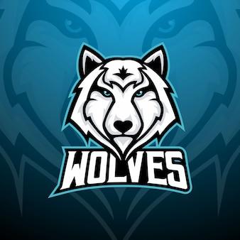 Eスポーツチームのロゴ、ゲームマスコットのオオカミの頭