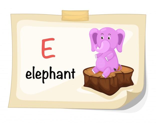 象のイラストの動物アルファベットe