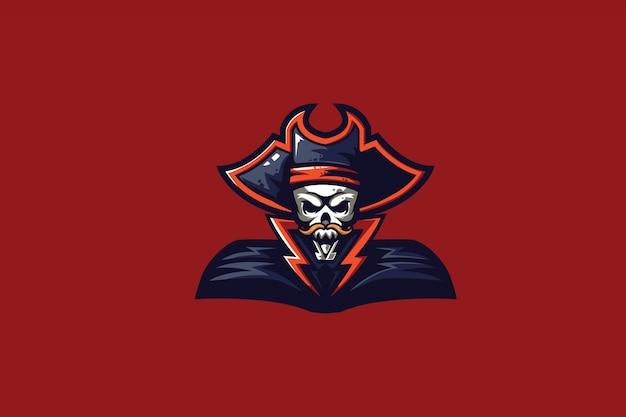 Eスポーツマスコットロゴの海賊船長クリップアート