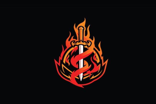 Eスポーツマスコットロゴの炎の剣のクリップアート