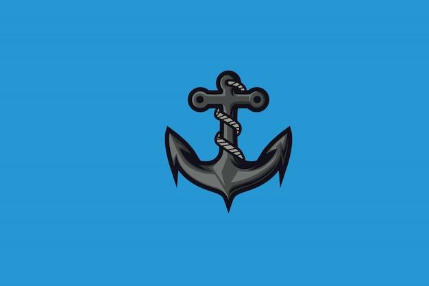Eスポーツマスコットロゴのアクアアンカークリップアート