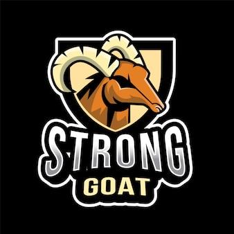 強力なヤギeスポーツのロゴのテンプレート