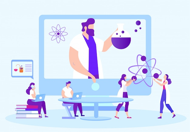 学生は化学実験を行います。オンラインモニターの先生。通信教育。 eラーニング