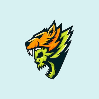 Eスポーツのオオカミと頭蓋骨のロゴ