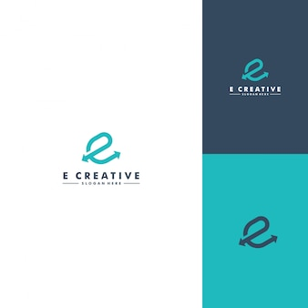 文字eのロゴのテンプレート