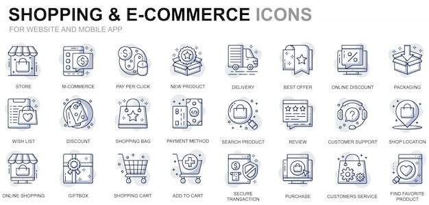 ウェブサイトとモバイルアプリのシンプルなセットショッピングとeコマースラインアイコン