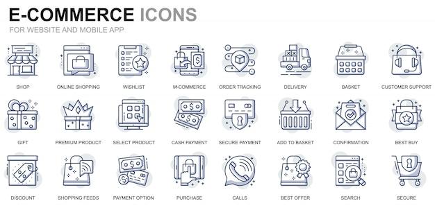 ウェブサイトおよびモバイルアプリ用のシンプルなセットeコマースおよびショッピングラインアイコン