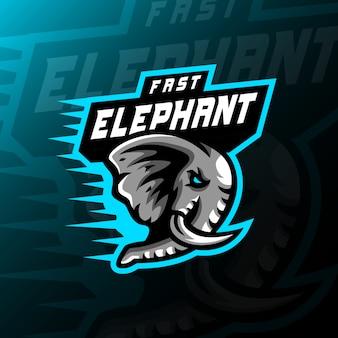 象のマスコットロゴeスポーツイラストゲーム