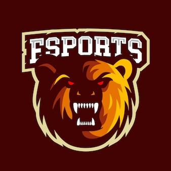 怒っているクマのeスポーツのロゴ