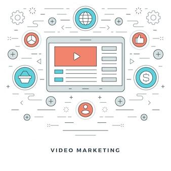 Eラーニングやビデオマーケティングのモダンな細い線アイコン。