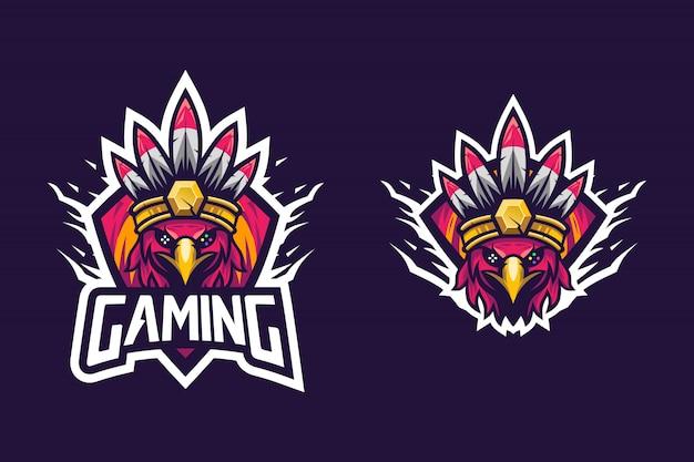 Eスポーツのロゴの素晴らしい鳥スタイルのインディアンの部族
