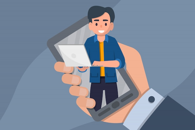 オンラインウェビナー。遠隔教育、トレーニング、チュートリアル、eラーニングの概念。フラット株式ベクトルイラスト。