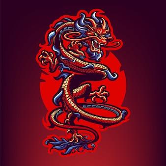 スポーツと分離されたeスポーツのドラゴンマスコットロゴ