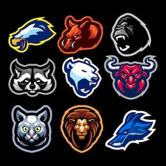 スポーツと分離されたeスポーツの動物ヘッドマスコットロゴ