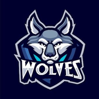スポーツと分離されたeスポーツのオオカミ頭マスコットロゴ