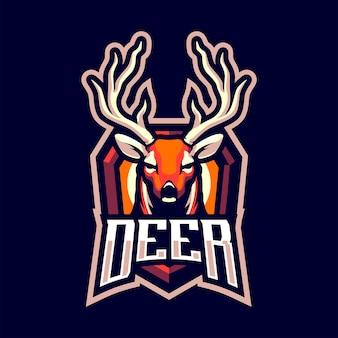 スポーツと分離されたeスポーツの鹿頭マスコットロゴ