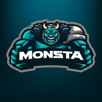 暗い青色の背景に分離されたスポーツとeスポーツのロゴのモンスターをつかむマスコットイラスト
