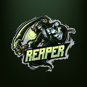 濃い緑色の背景に分離されたスポーツとeスポーツのロゴの死神マスコットイラスト
