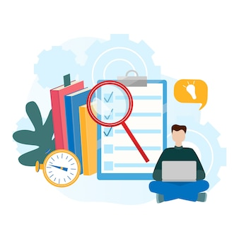 Eラーニング、オンライン教育のための現代平らなベクトル図の概念