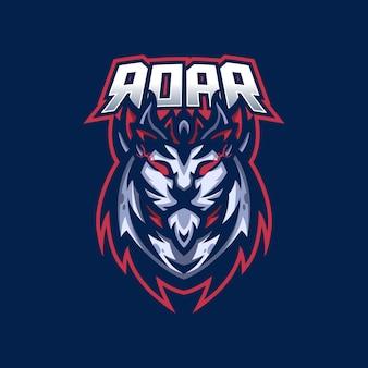 ライオンeスポーツゲームのマスコットのロゴのテンプレート