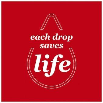 Каждая капля сохранить жизнь всемирный день донора крови типографика