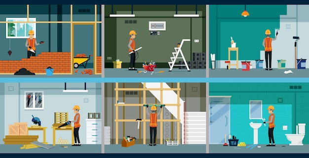 Each type of construction worker is working in the house