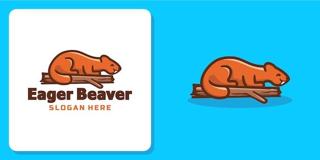 熱心なビーバーの動物のロゴ