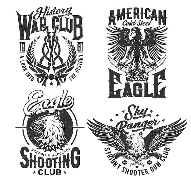 イーグルアメリカンtシャツプリント、射撃クラブ、ベクトルエンブレムアイコン。スカイレンジャーと軍の射撃場のクラブバッジ、翼のあるゴシック様式の紋章のワシの鳥、歴史戦争クラブの月桂樹と剣