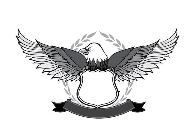ロゴとエンブレムデザインのイーグルとバッジのシンボル