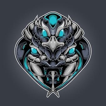 Роботизированный стиль головы орла и кобры