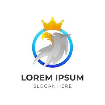 Орел и корона логотип вектор с 3d красочным стилем