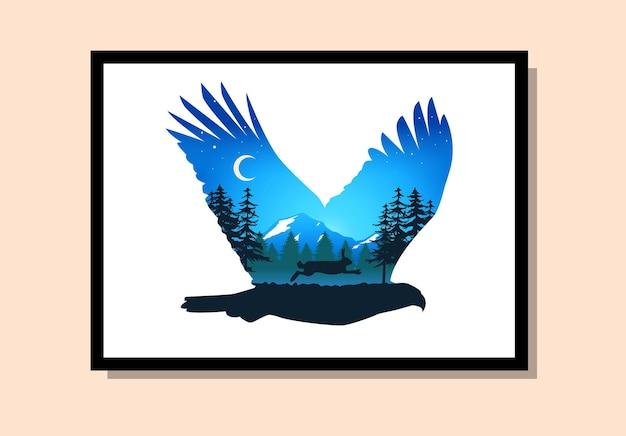 자연 배경을 가진 하나의 예술에서 독수리와 토끼 벽 예술