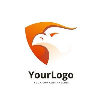 Логотип орла и щита премиум векторы
