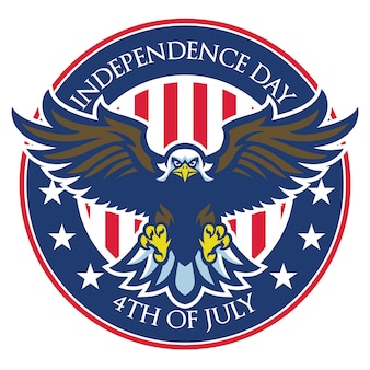 Eagle badge of independence day of united states